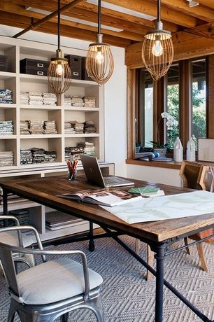 Contemporary Home Office with Standard height, Paint 1, Casement, Industrial cage work light pendant, Built-in bookshelf