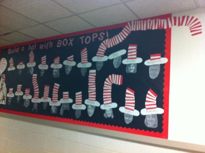 I put a stripe on each hat for every ten box tops! Took pics of the teachers