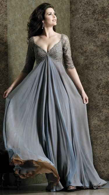A floating smokey blue-grey evening gown. A Romantic Dress