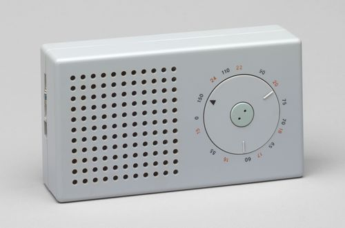 "Pocket Radio (model T3)  Dieter Rams (German, born 1932) and Ulm Hochschule für Gestaltung (German, established 1953)    1958. Plastic casing, 3 1/4 x 6 x 1 5/8"" (8.3 x 15.2 x 4.1 cm). Manufactured by Braun AG, Frankfurt, Germany, est. 1921. Gift of the manufacturer"