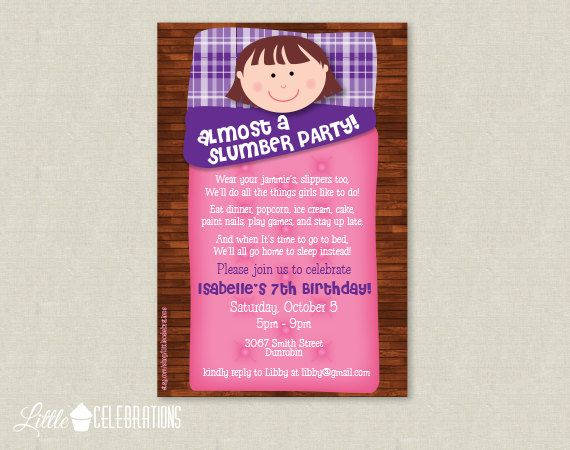 almost a slumber party birthday party invitation sleepover