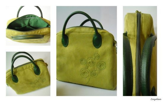 Green handbag with handquilted motif designed by me.