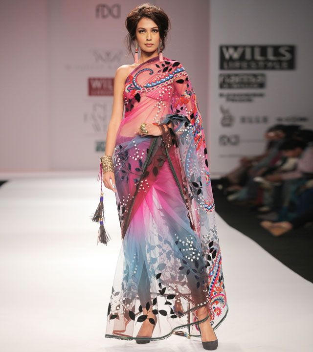 Pink Embroidered Net Saree with Swarovskis