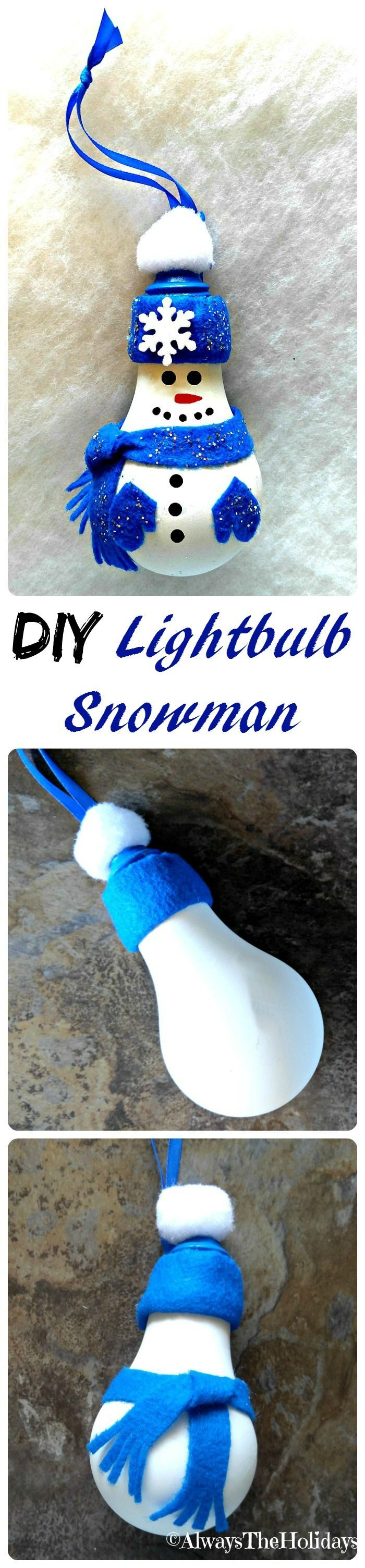 This DIY Light Bulb Snowman is easy to make and will look adorable on your Christmas tree.