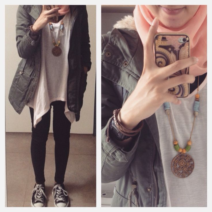 Ootd Urban hijab style : asymetrical tsirt, jeans, parka, converse, statement necklace, peach #fien