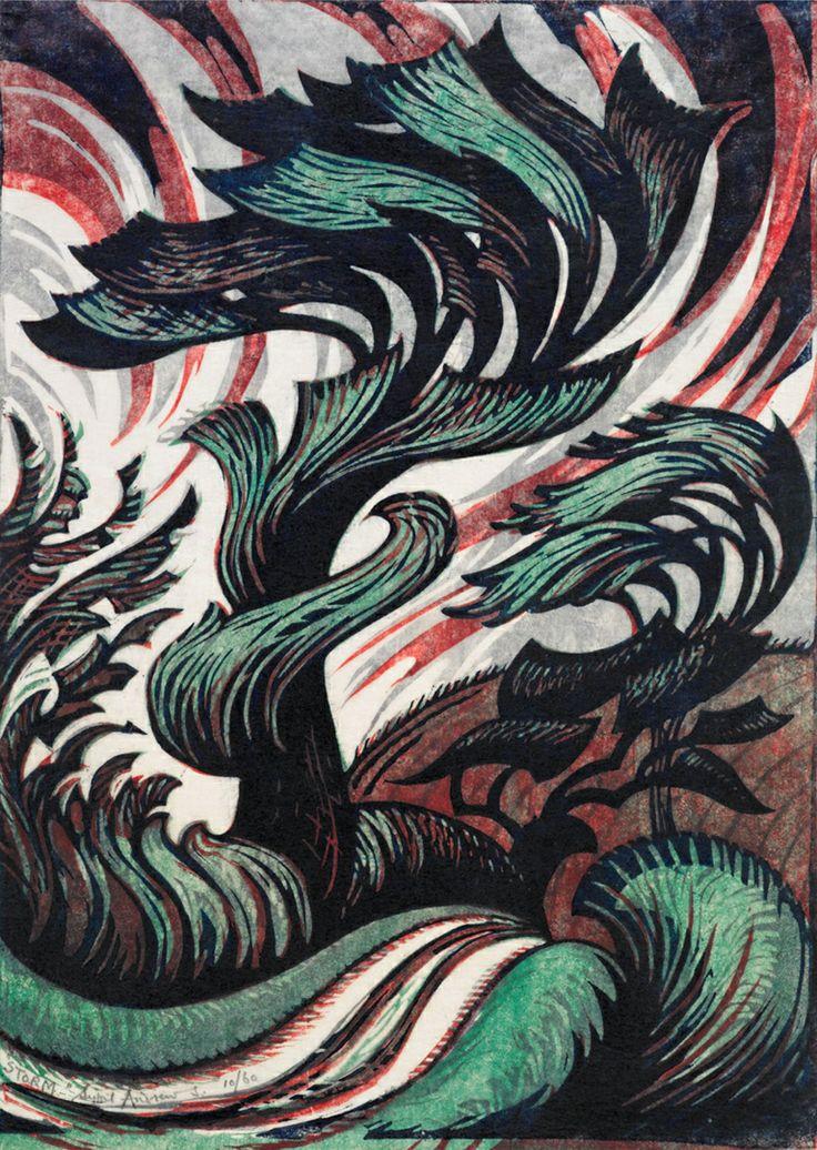 Sybil Andrews Modernist Linocut Prints  British-born Canadian artist Sybil Andrews (1898-1992) produced these incredible modernist linocuts. Storm, 1935, no. 10/60. Museum of New Zealand  http://4.bp.blogspot.com/-WD8FsHLBNFk/TbiPHaA3yxI/AAAAAAAACPM/BEaKcvhQA8c/s1600/Sybil-Andrews-Storm-1935sm.jpg