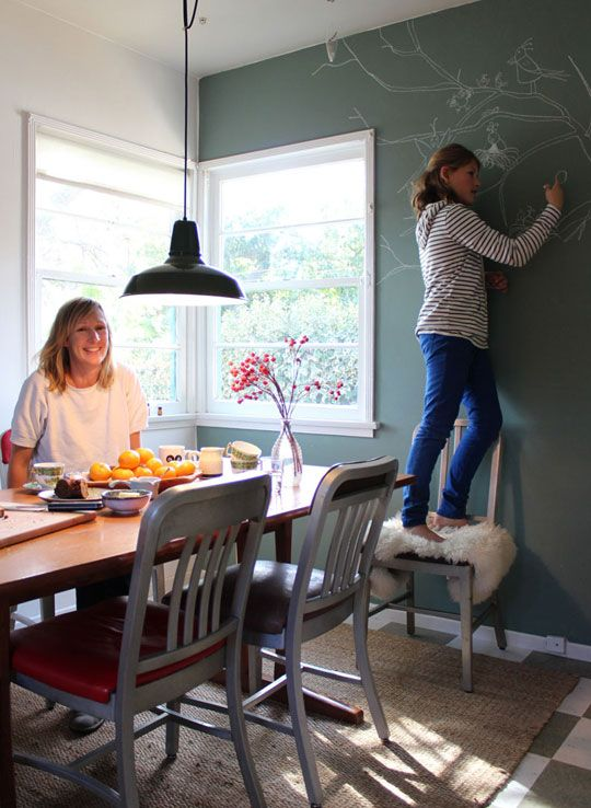 I love this gray wall with chalked wallpaper!  Adorable!: Blackboard Wall, Kids Playrooms, Diy'S Chalkboards, Chalkboards Paintings, Apartment Therapy, Chalk Wall, Grey Chalkboards, Green Chalkboards, Chalkboards Wall