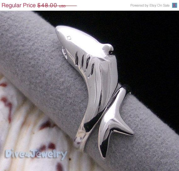 CHRISTMAS SALE Sterling Silver SHARK Ring Size Adjustable