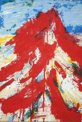 """Een prachtige zeefdruk van Jan Cremer met als titel """"Altai"""" (een gebergte in Mongolië). Deze handgesigneerde zeefdruk komt uit 1988 en heeft een oplage van 250 zeefdrukken. Het beeldformaat is maar liefst 80 x 116 cm. € 450,-"""
