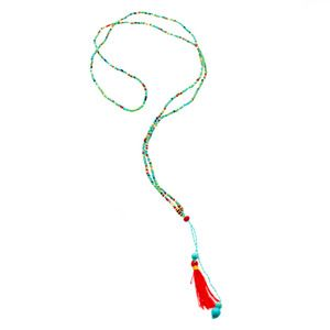 Short 'Mikro' Bead Tassel Necklace in Blend www.morecollections.com.au
