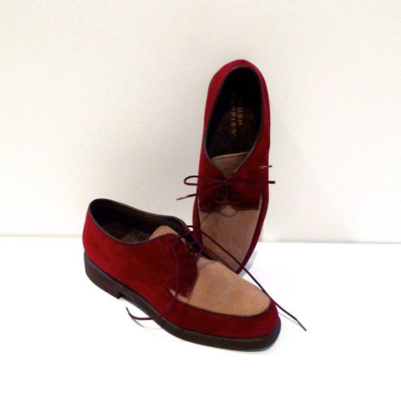 Hush Puppies Shoes Two Tone Oxfords Size 8.5 Womens Garnet Beige Suede Leather Lace Up Vintage Rockabilly Hipster Retro FREE US SHIPPING