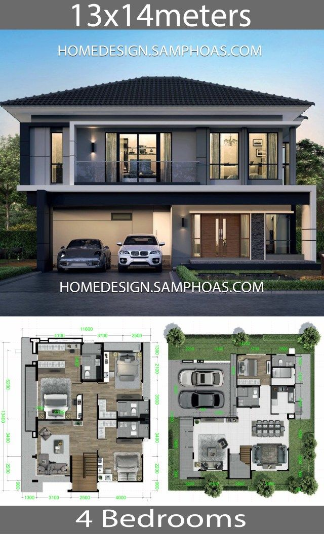 House Design Plans 13x14m With 4 Bedrooms Home Ideassearch Modern Style House Plans Modern House Plans House Layout Plans