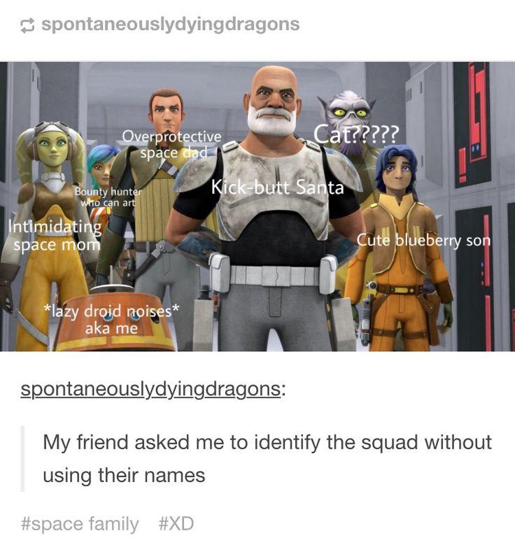 Sabine, Hera, Kanan (or Caleb), Chopper, Rex, Zeb, and Ezra.