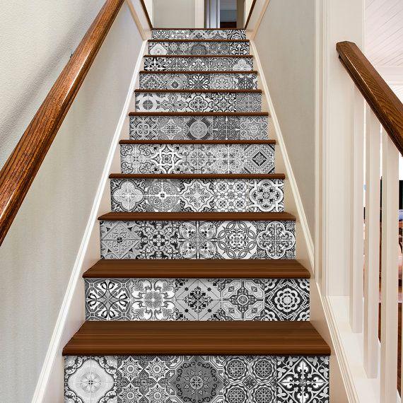 Escalier - Portugais Carreaux - Sticker de Décoration pour Carrelage - Cuisine…