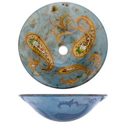 Geyser Hand Painted Tempered Glass Bathroom Vessel Sink