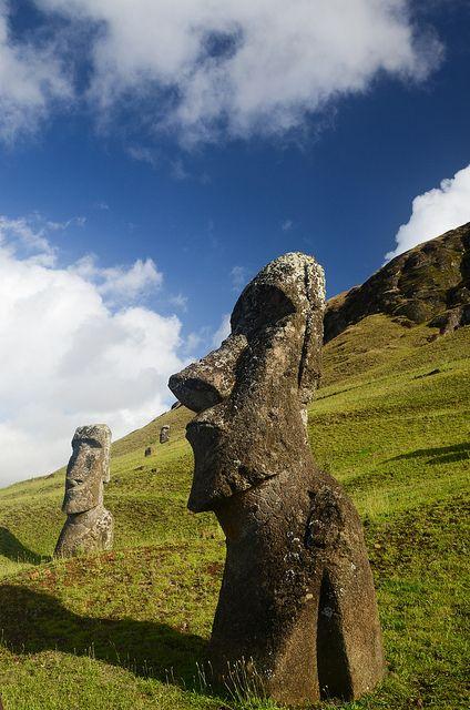 Moai statues in Rano Raraku crater, Easter Island, Chile