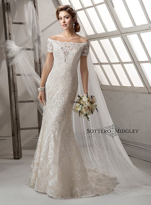 Romantic lace wedding dress, Dakota by Sottero and Midgley. This sheath dress is perfect for the traditional bride looking for a modern twist!