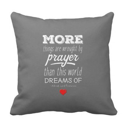 #More Things Are Wrought By Prayer Quote Pillow - #chalkboard #gifts