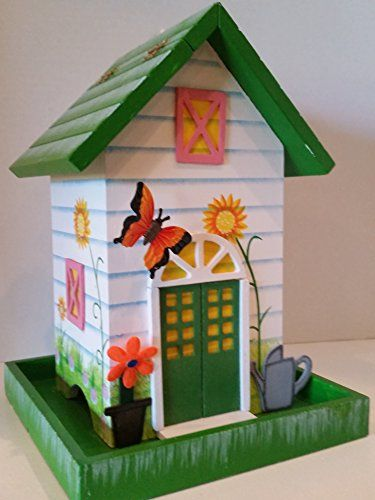 Special Offers - Destiny Garden Cottage Bird Feeder in White with an Amazing hand painted sunflower garden print and a whimsical 3-D Butterfly floating above the front door. - In stock & Free Shipping. You can save more money! Check It (December 21 2016 at 11:05AM) >> http://birdhouseusa.net/destiny-garden-cottage-bird-feeder-in-white-with-an-amazing-hand-painted-sunflower-garden-print-and-a-whimsical-3-d-butterfly-floating-above-the-front-door/