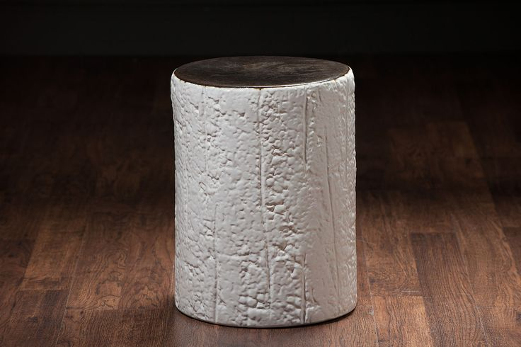 Sloane Ceramic Stool withCharred Wood Motif White and Gold or Matte Black and Gold
