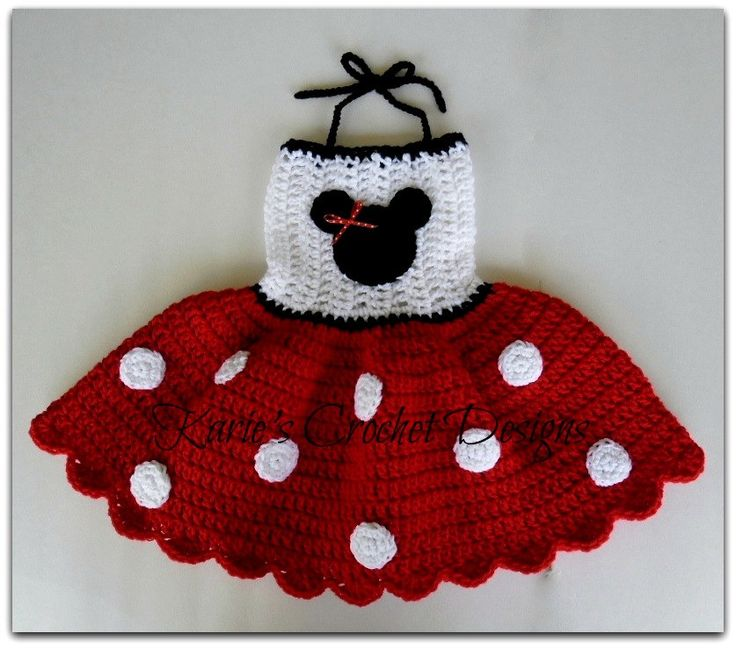 crochet baby dress pattern polka dot | Minnie Mouse RED Polka Dots Crocheted by KariesCrochetDesigns