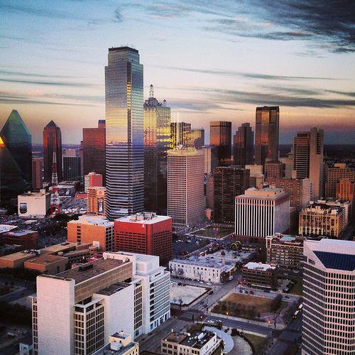 Dallas Texas Skyline Sunset  Dallas Photoworks - Fresh photography for the Design & Hospitality Industry.