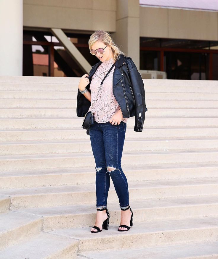 Nikki Prendergast (@mystylediaries) on Instagram: dark distressed skinnies, pink lace top, strappy heels, black moto jacket