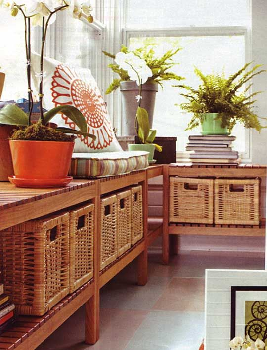 .Wicker baskets are inexpensive, great for storage and add texture to any space