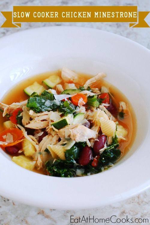 Chicken Minestrone in the Slow Cooker