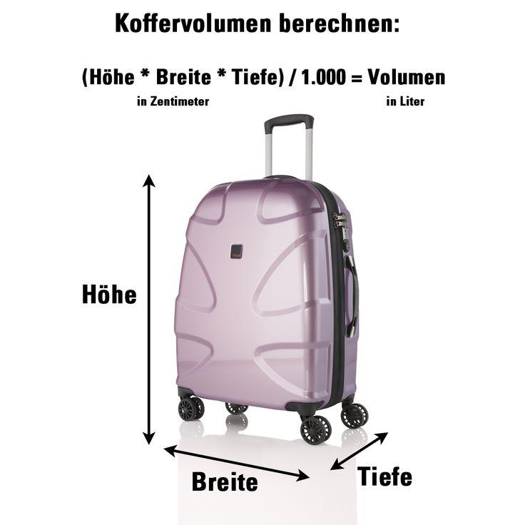 Hier die Formel, wie ihr das Volumen eures Koffers berechnet.