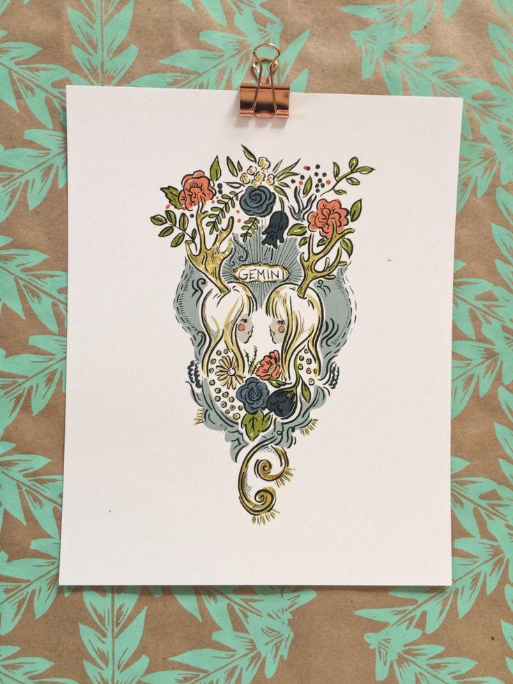 Signs of the Zodiac | Gemini Illustration 8 x 10 Art Print by OliveandCoStudio on Etsy https://www.etsy.com/listing/489997137/signs-of-the-zodiac-gemini-illustration