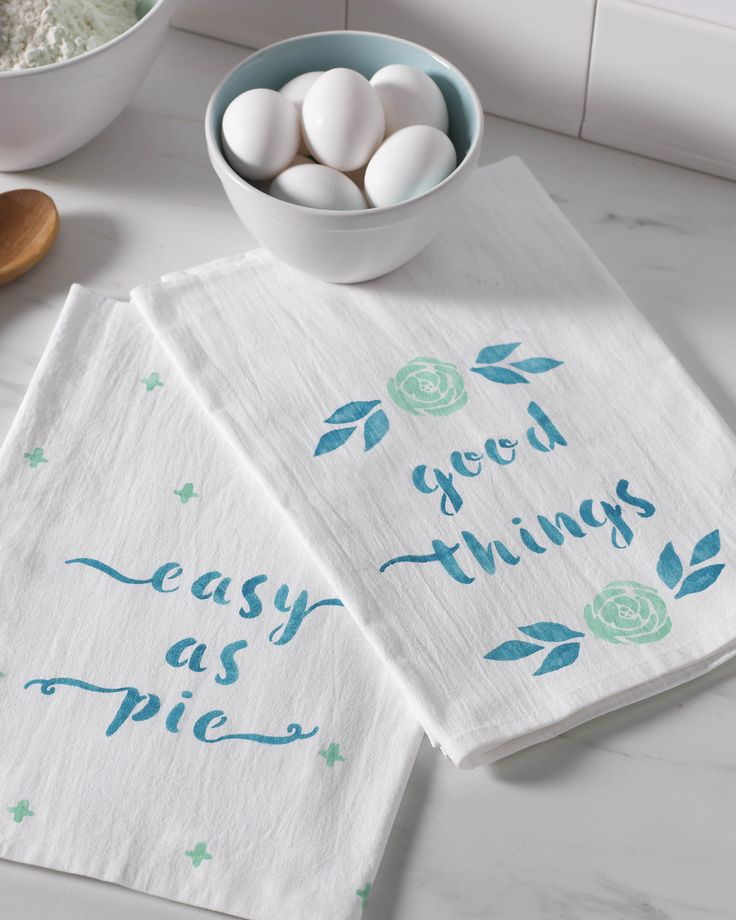 """Baking your favorite treats will be """"easy as pie"""" when you have a trusty set of tea towels near by! Using Martha Stewart craft paint and stencils from Michaels, DIY your own phrases and motifs onto plain towels. These customizable kitchen essentials also make quick and easy hostess gifts!"""