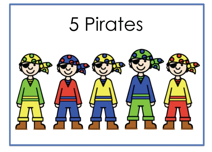 Five pirates rhyme, simple subtraction. Powerpoint presentation animating the rhyme, printable book, props (for acting out) and rhyme card.