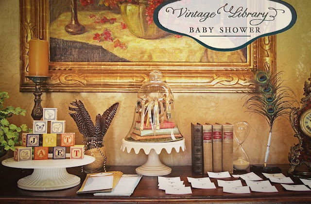 vintage library themed baby shower - so cool
