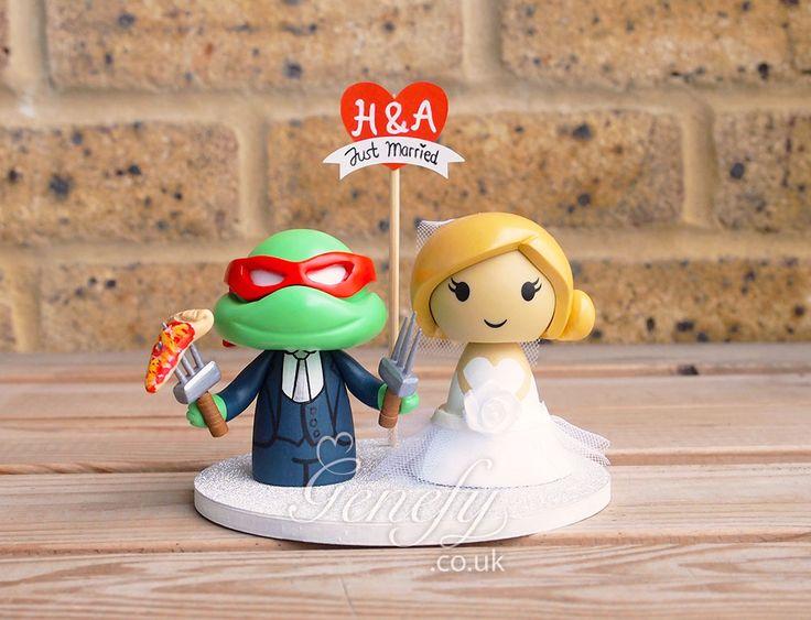 TMNT Raphael and bride wedding cake topper by GenefyPlayground  https://www.facebook.com/genefyplayground