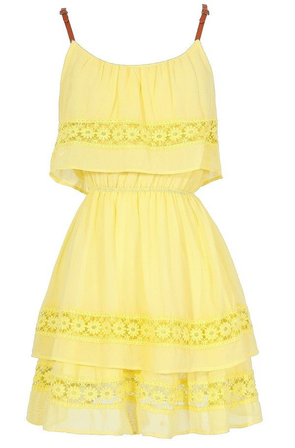 Lazy Daisy Tiered Dress in Bright Yellow  www.lilyboutique.com
