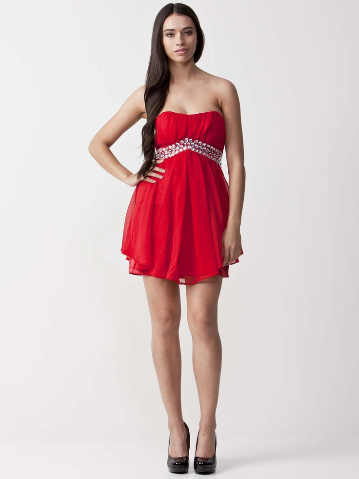 Ruby - Chic Strapless Dress with sweetheart neckline.  Modern pleating on the skirt with figure hugging styling.  Glistening jewels on the waistline and short length. $73.70