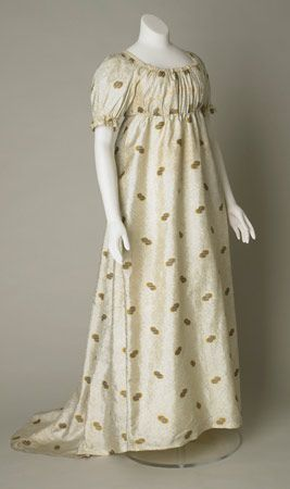 Figured silk evening dress, probably English, about 1800-1810.