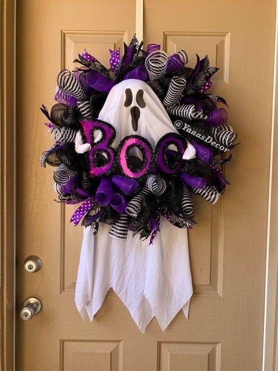 Purple Black Halloween Wreath | Ghost Boo | Ghost Decoration | Halloween Gift | Halloween Door Decor | Trick Or Treat Decor | Chevron Ribbon