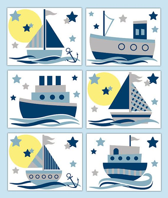 NAUTICAL NURSERY PRINTS Sailboat Wall Art Baby by decampstudios