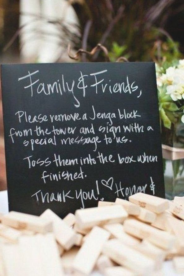 Creative Jenga Blocks Wedding Guest Book Sign In Ideas Emmalovesweddings Weddingideas2019 In 2020 Jenga Wedding Jenga Wedding Guest Book Creative Wedding Guest Books