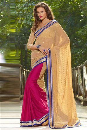 Designer Beige Embroidered Saree