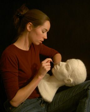 Stephanie Metz at work on a felted wool marble portrait bust (www.stephaniemetz.com/)