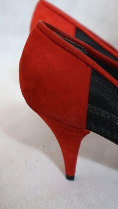 Sergio Rossi - scarpe con tacco inserto rete e pizzo