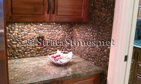 polished tiger pebble tile kitchen backsplash w drk grout