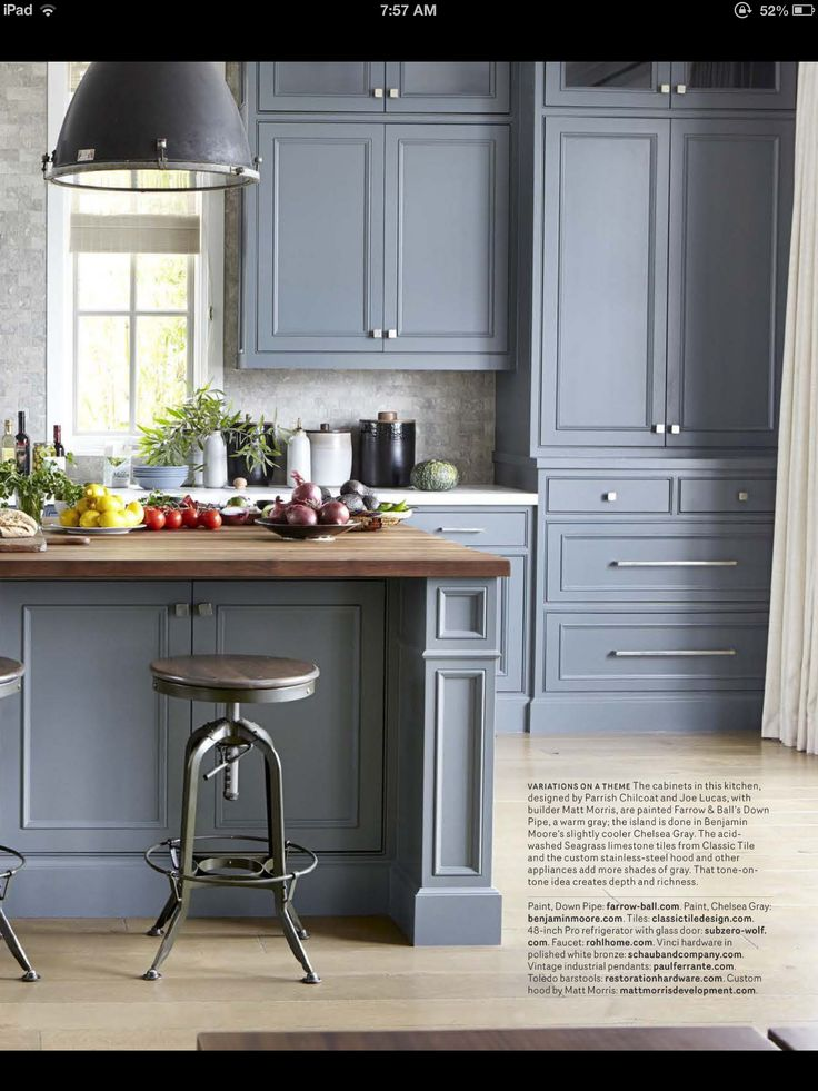 Gray Cabinets Butcher Block Island Blue Kitchen