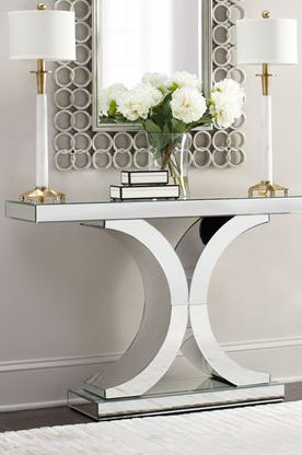 Splendora Mirrored Console Neiman Marcus Horchow Hollywood glam modern table