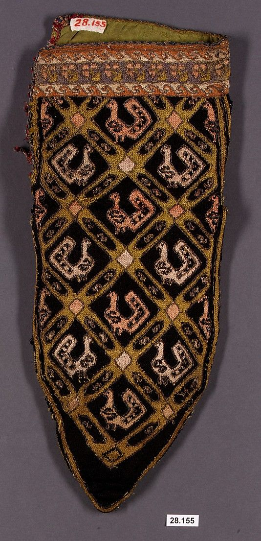 Sock  Date: late 18th century Geography: Iran Medium: Silk, metal Dimensions: H. 11 1/2 in. (29.2 cm) W. 6 in. (15.2 cm)
