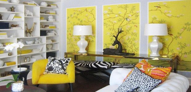 Living Room Yellow Accents