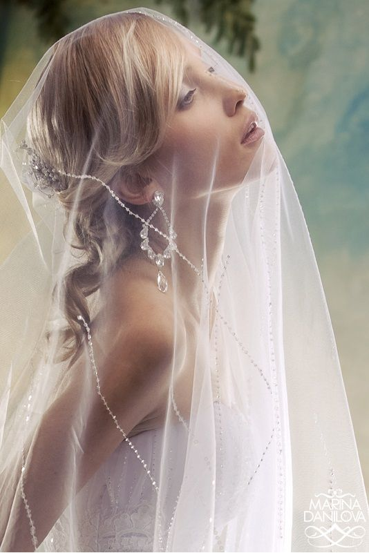 Soft Sheer Veil With Delicate Strands Of Sparkling Diamante For More Wedding Ideas Visit